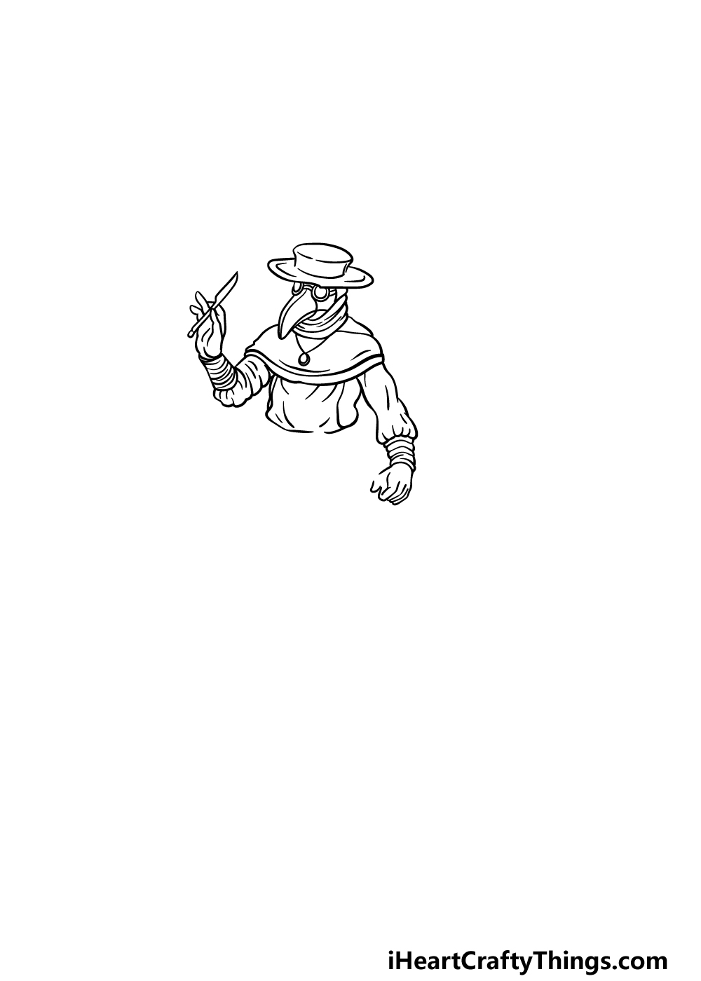 drawing a plague doctor step 2
