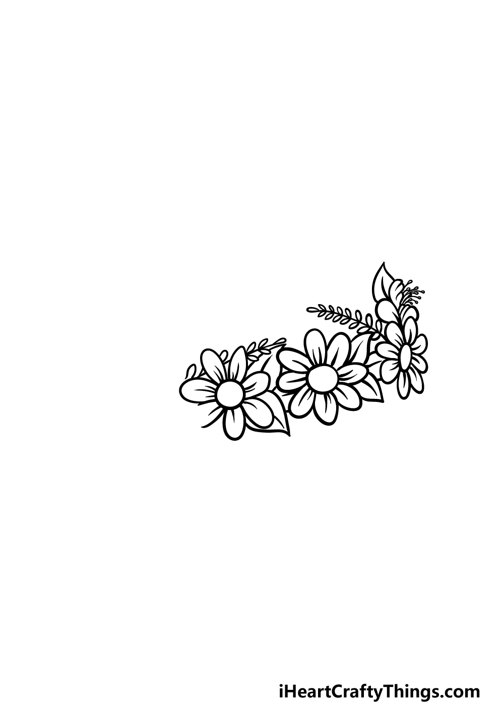drawing a flower crown step 2