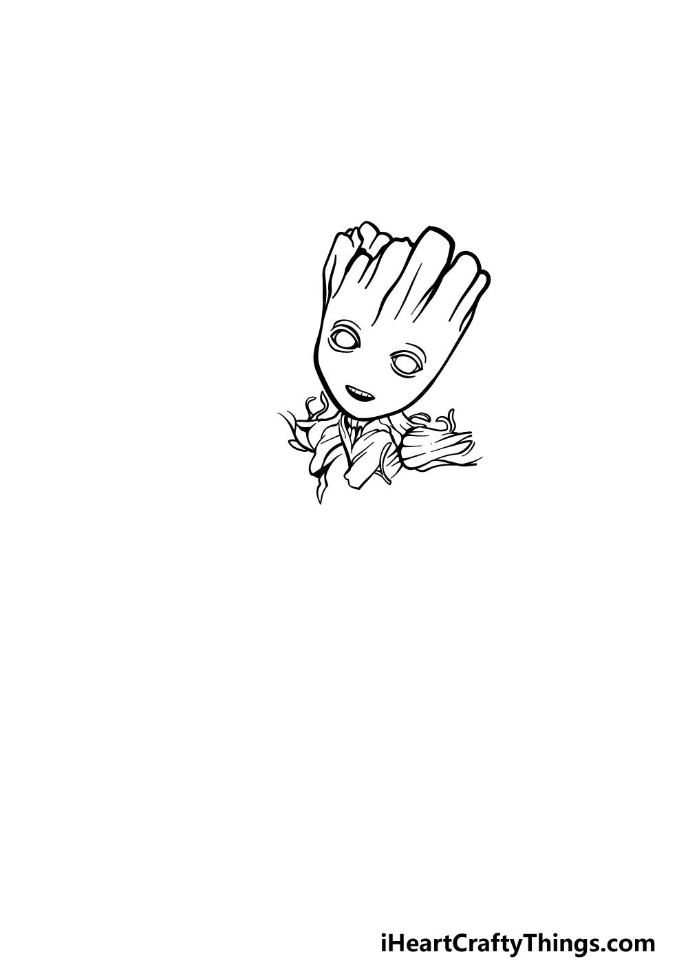 drawing Baby Groot step 2