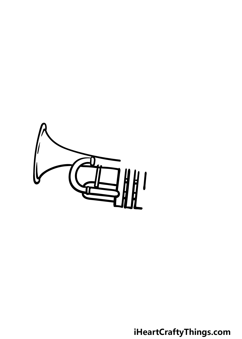 drawing a trumpet step 2