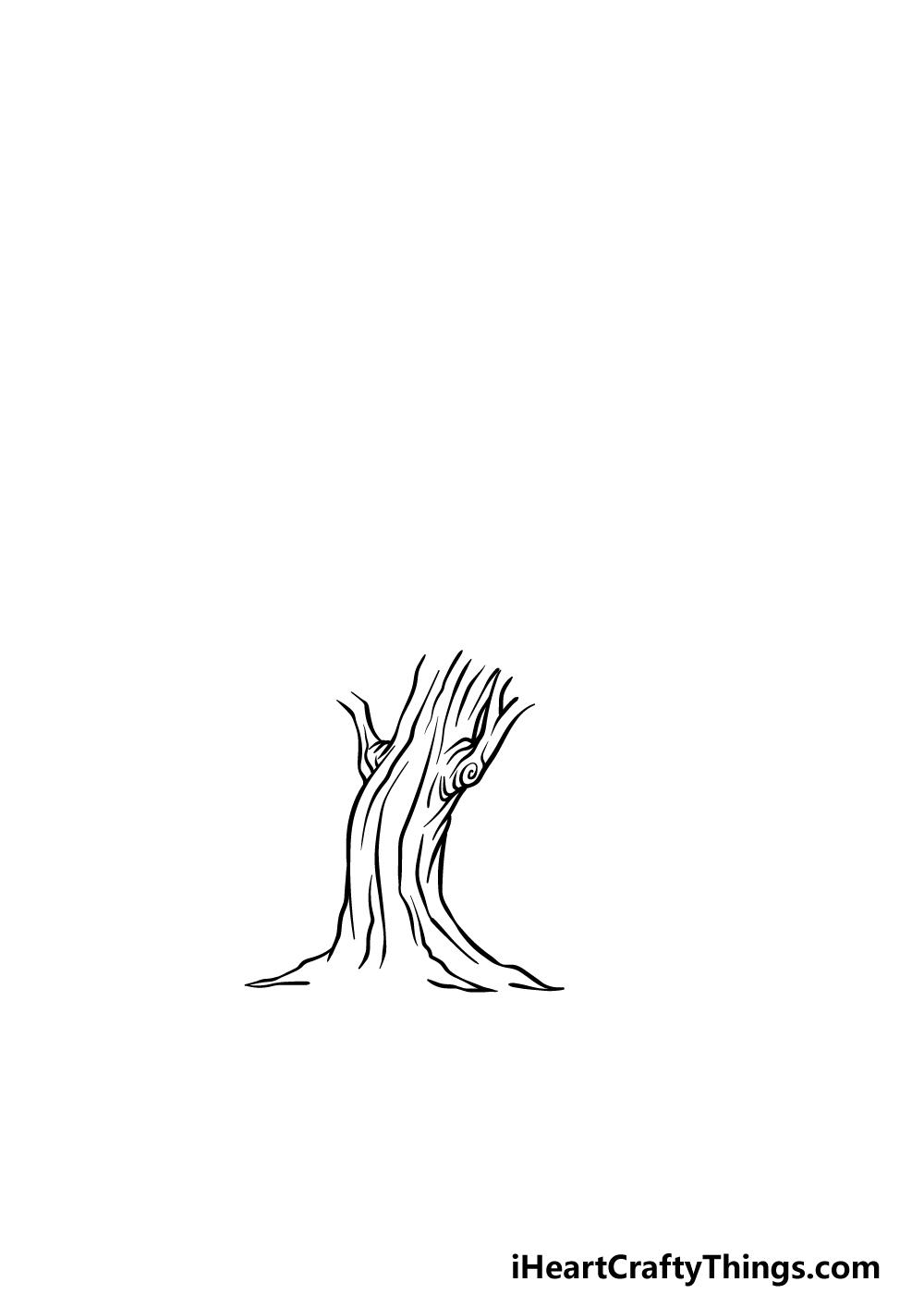 drawing an oak tree step 3