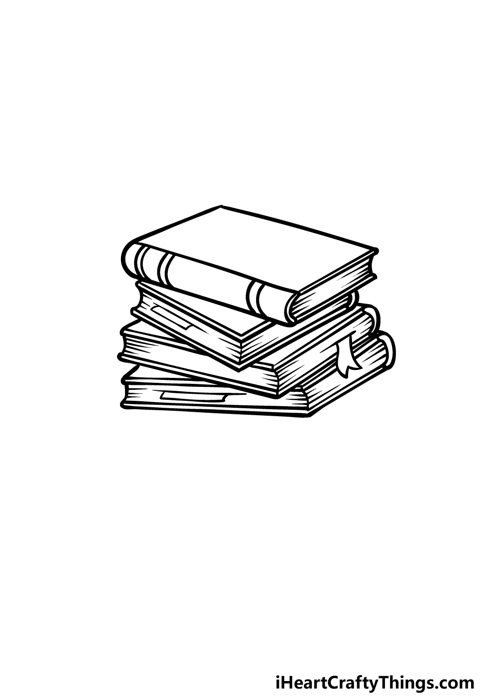 drawing a stack of books step 3