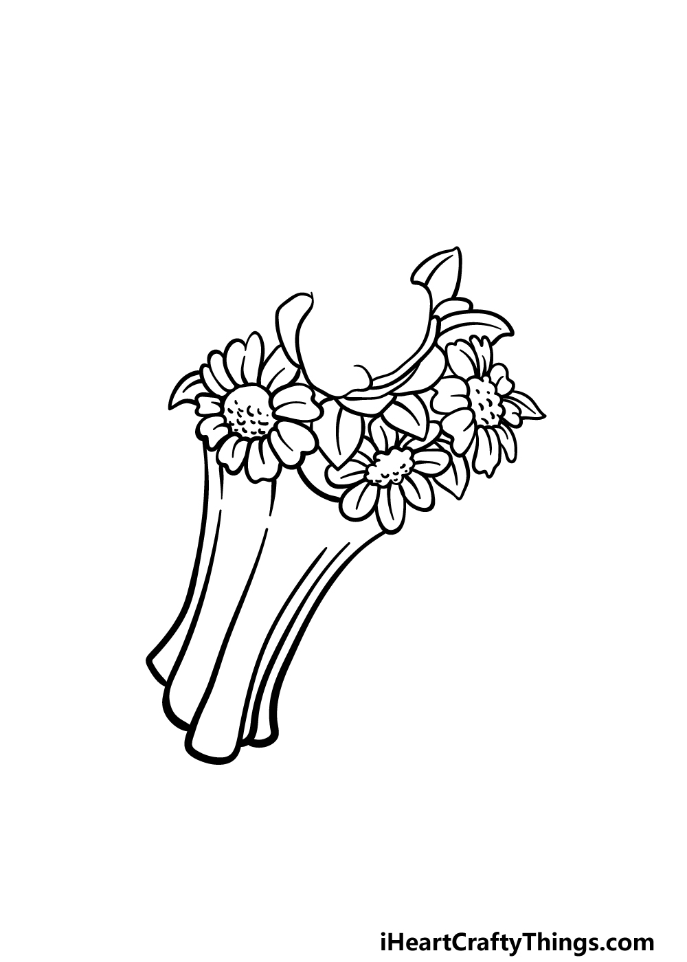 drawing a flower bouquet step 3