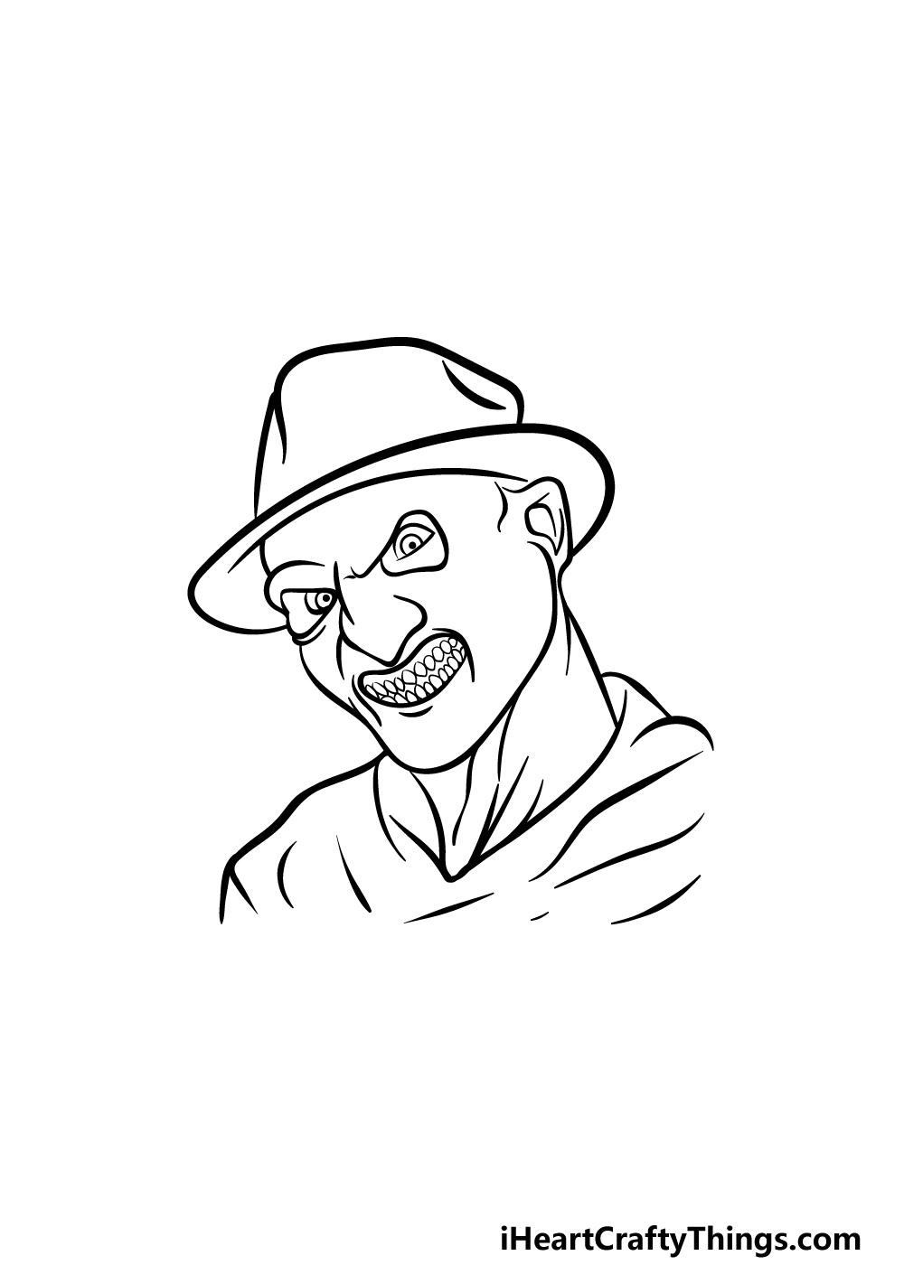 Drawing Freddy Krueger step 3