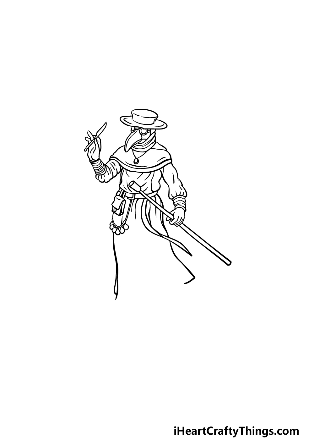drawing a plague doctor step 3