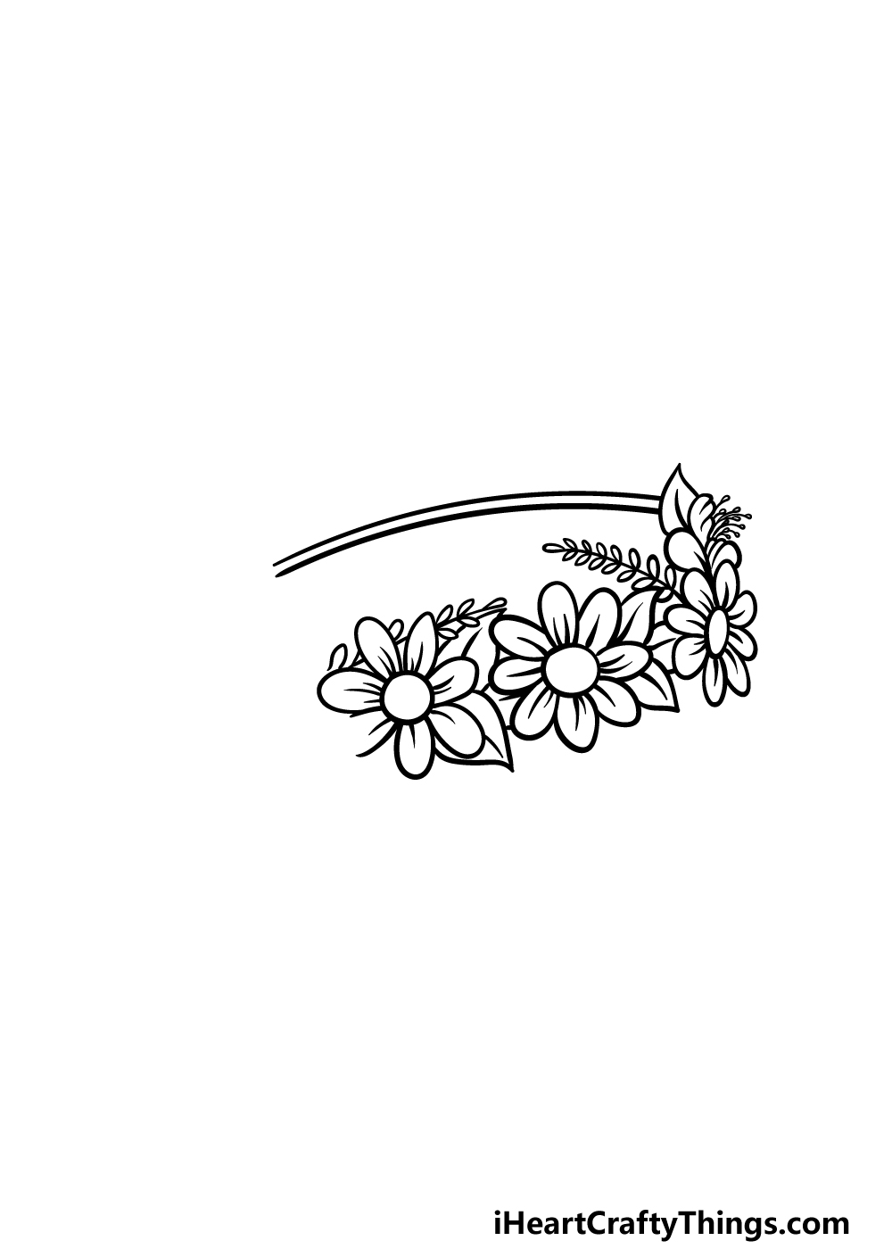 drawing a flower crown step 3