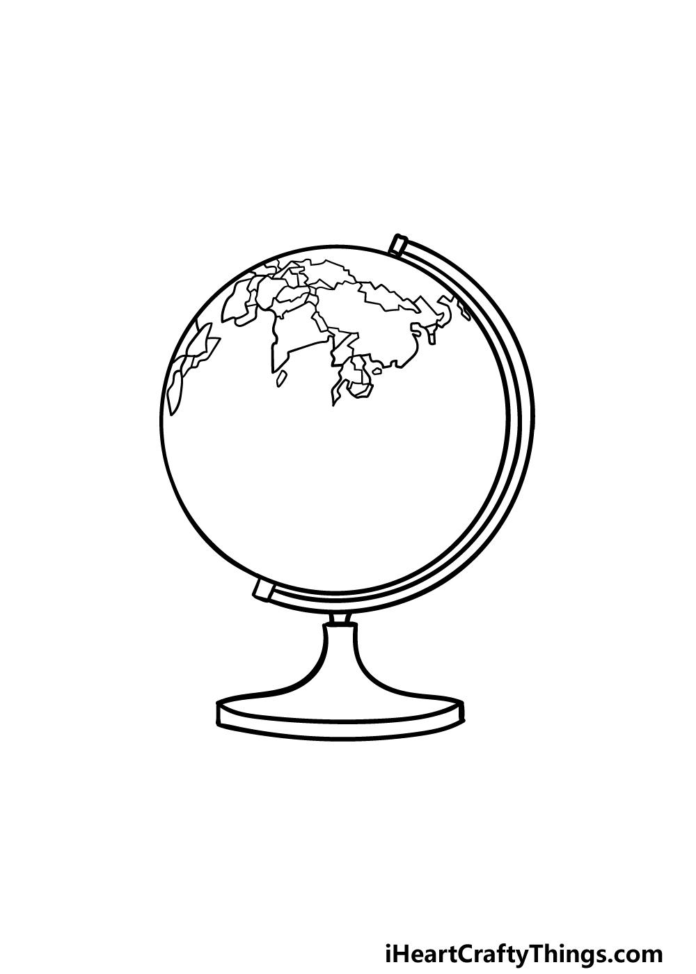 drawing a globe step 4