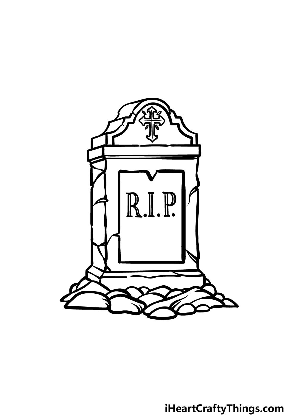 drawing a tombstone step 4
