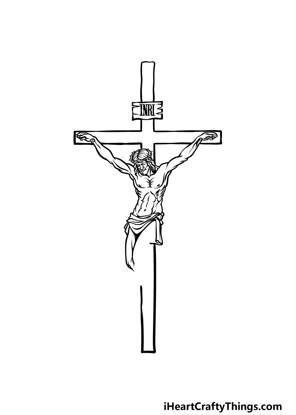 drawing Jesus on The Cross step 4