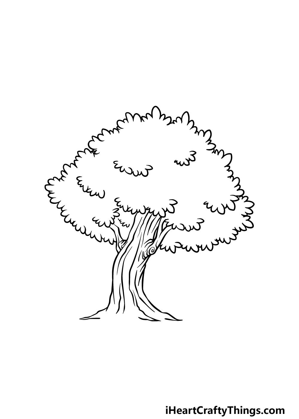 drawing an oak tree step 4