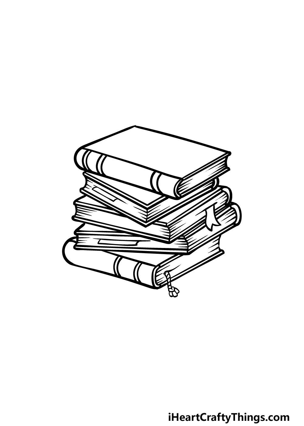 drawing a stack of books step 4