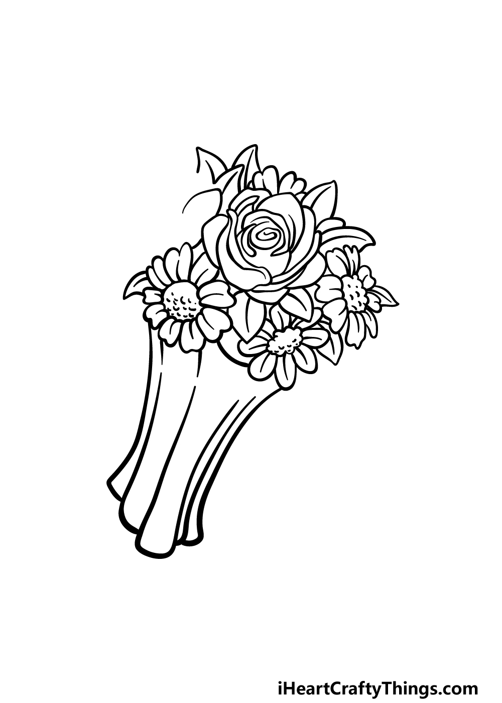 drawing a flower bouquet step 4