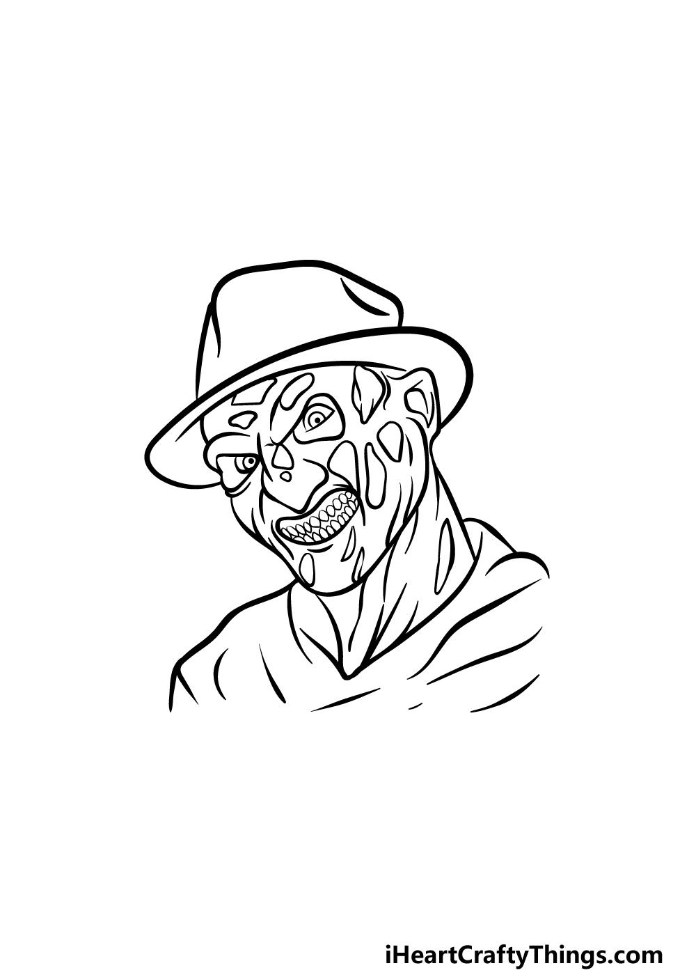 Drawing Freddy Krueger step 4