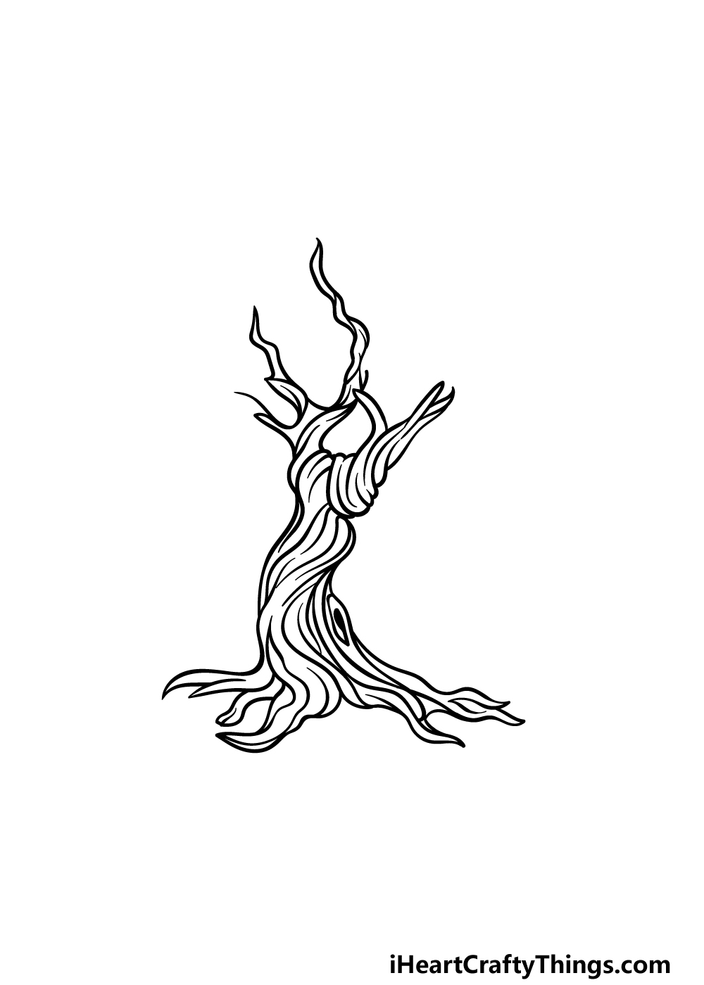 how to draw a dead tree step 4