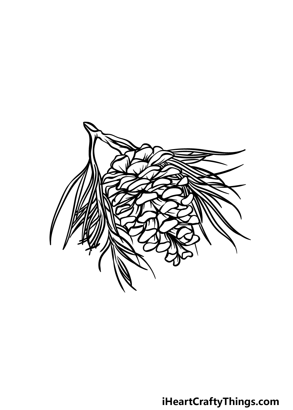 drawing pine cone step 4