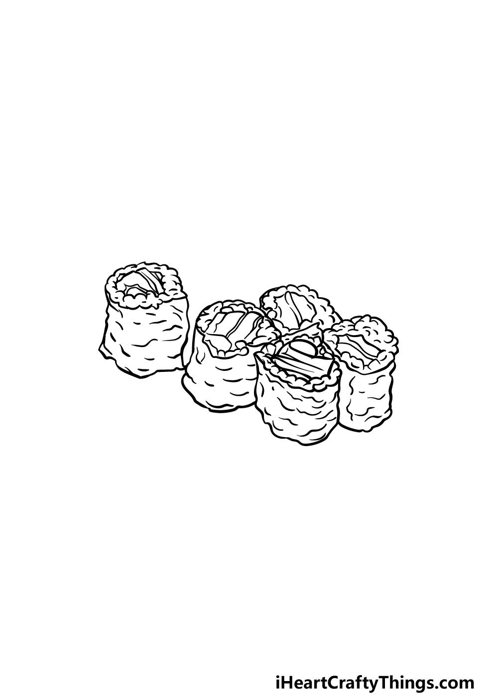 drawing sushi step 4