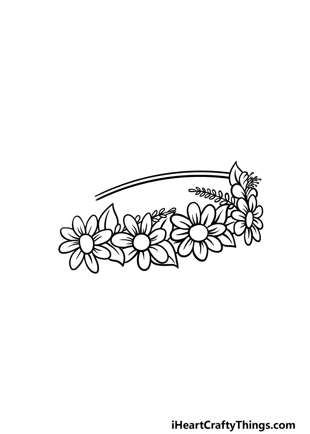 drawing a flower crown step 4