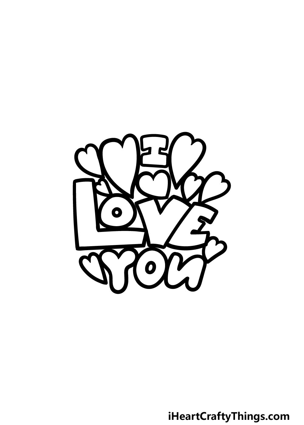 drawing I Love You step 4