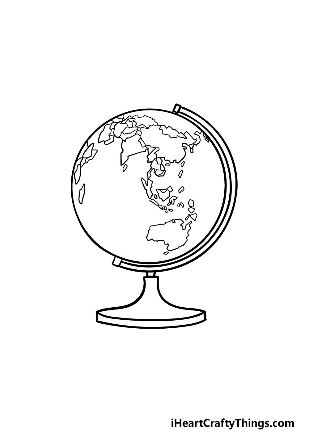 drawing a globe step 5