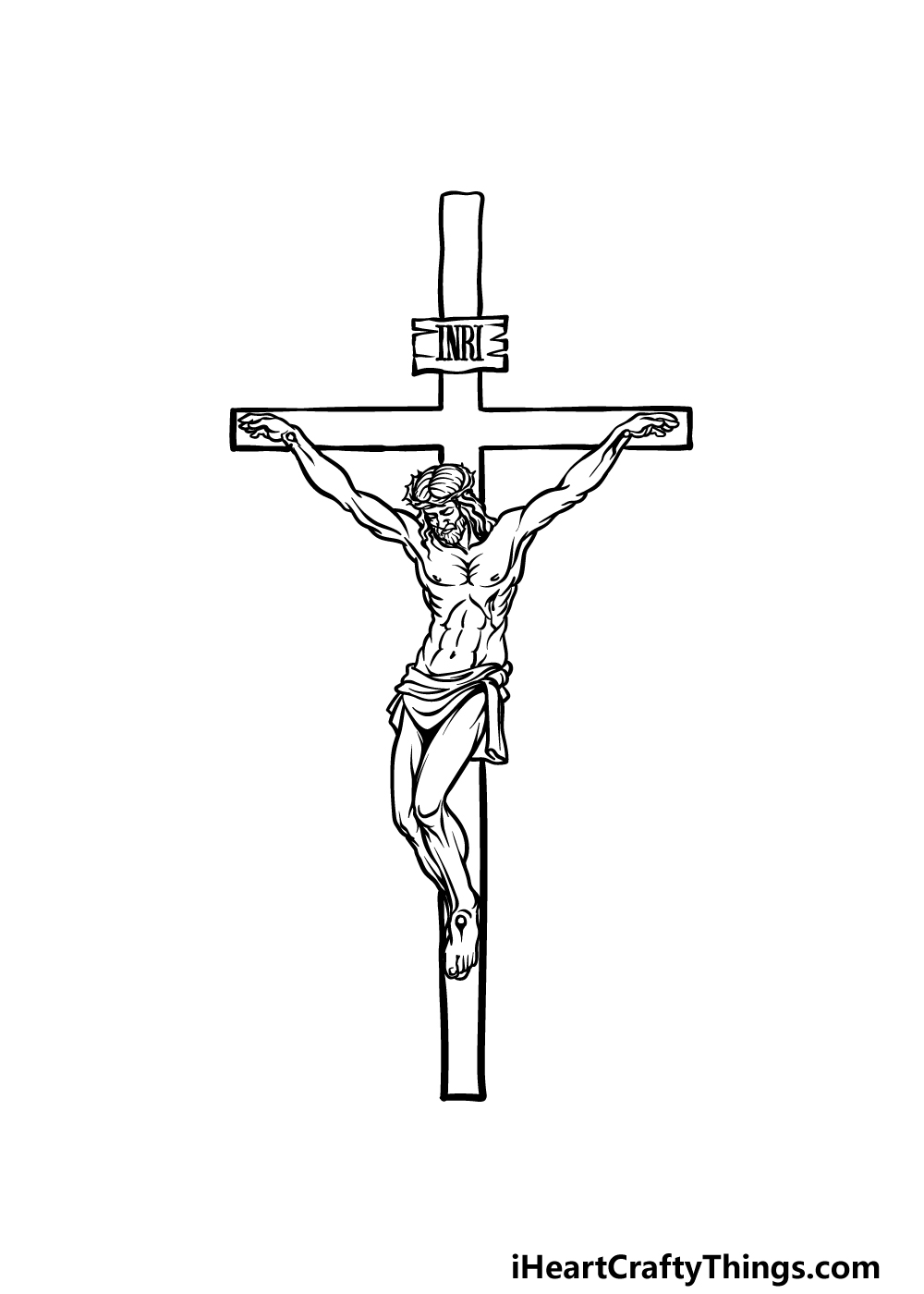 drawing Jesus on The Cross step 5
