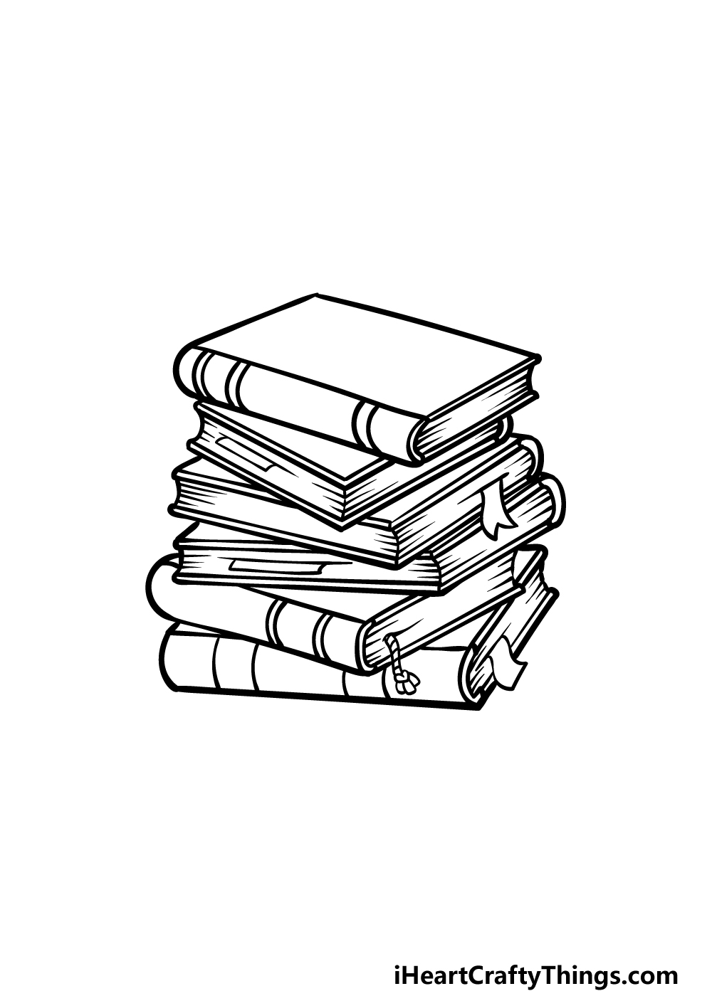 drawing a stack of books step 5