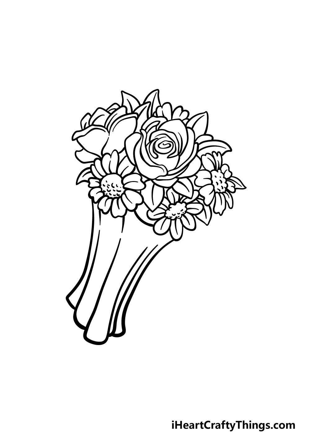 drawing a flower bouquet step 5