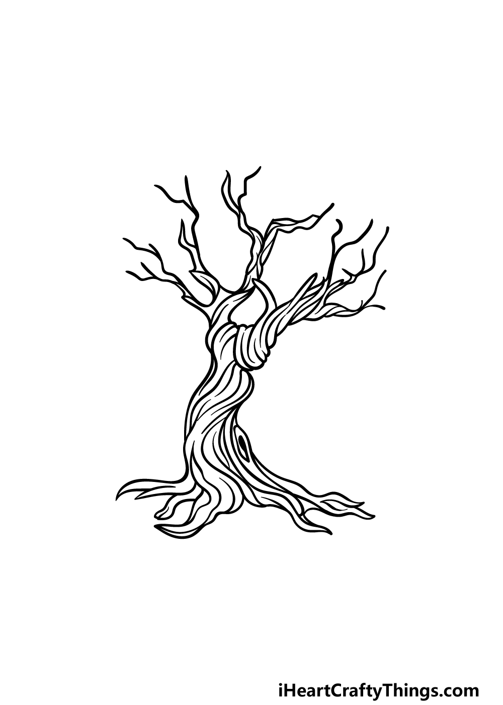 how to draw a dead tree step 5