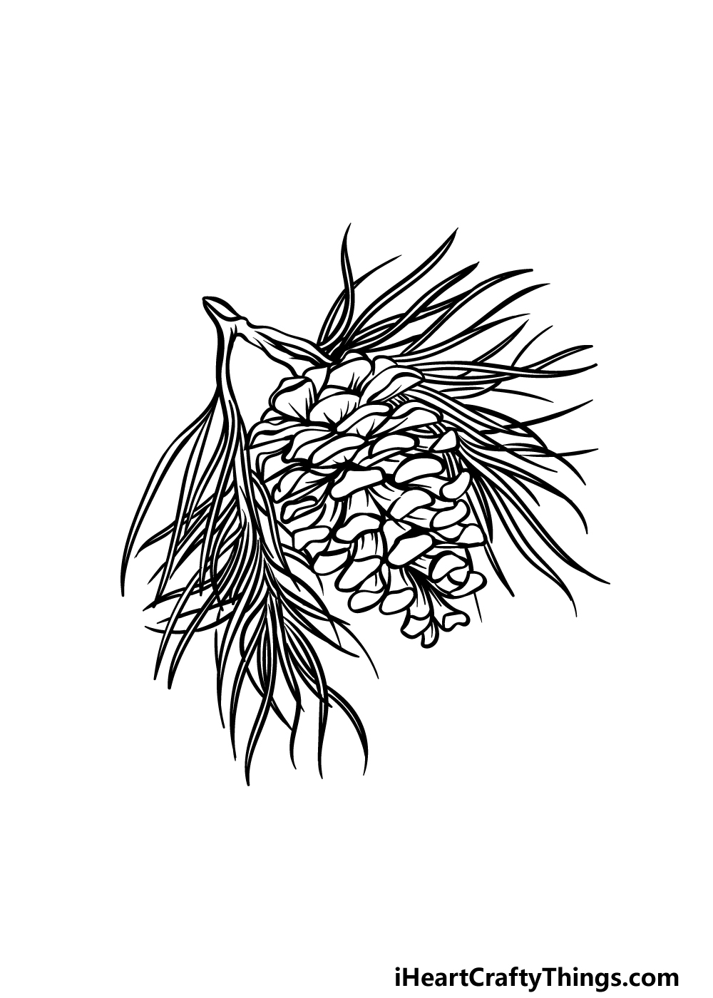 drawing pine cone step 5