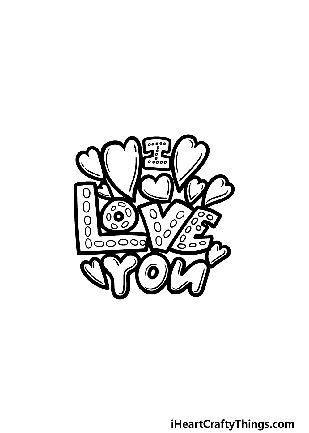 drawing I Love You step 5
