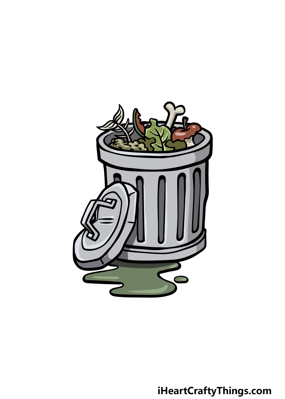drawing a trash can step 6