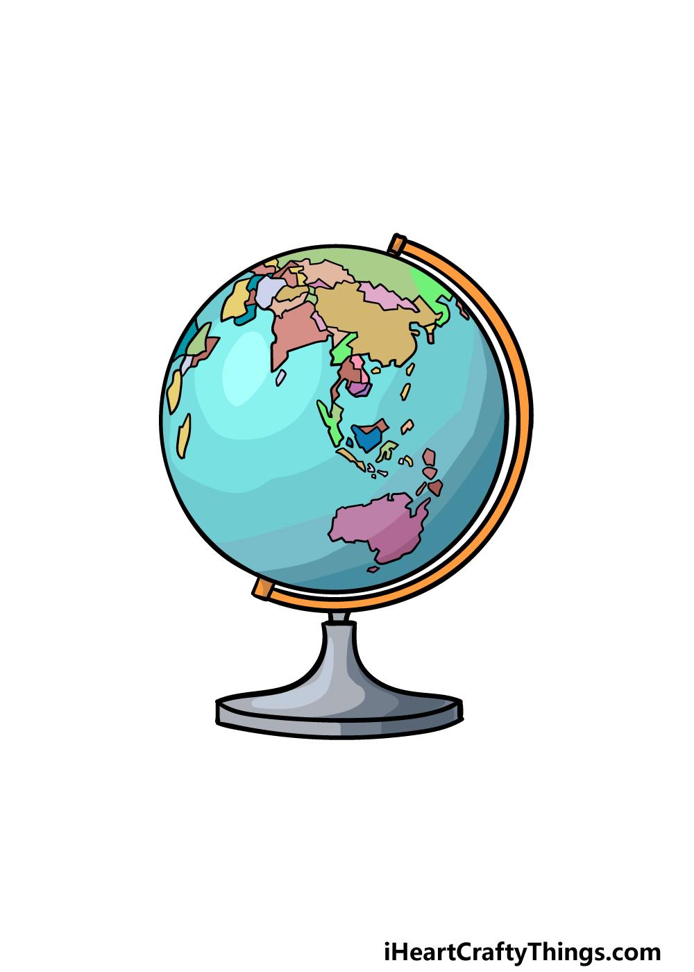 drawing a globe step 6