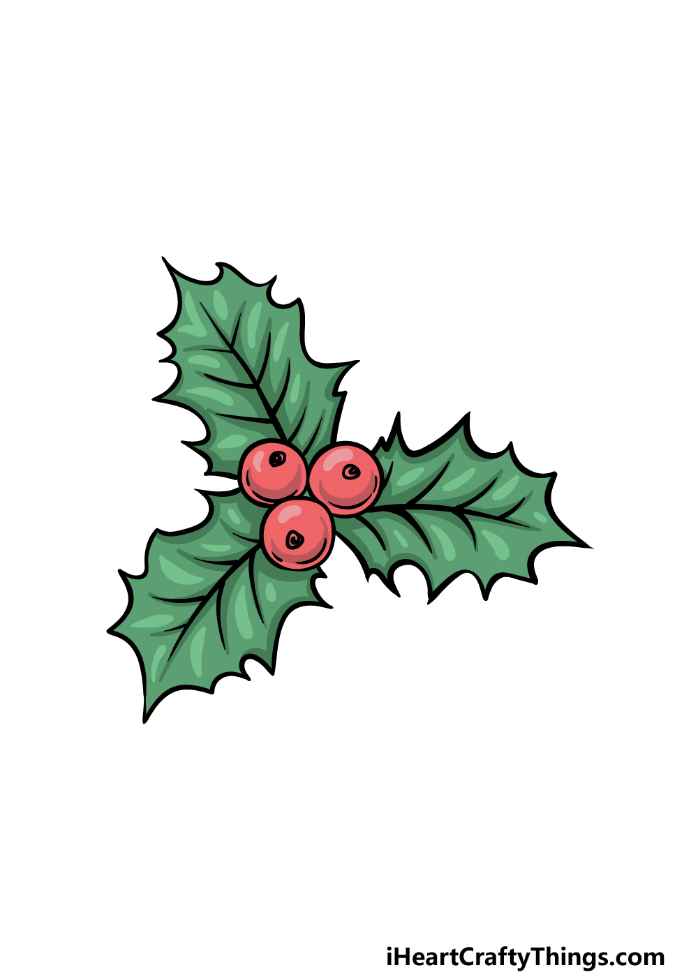 drawing a holly step 6