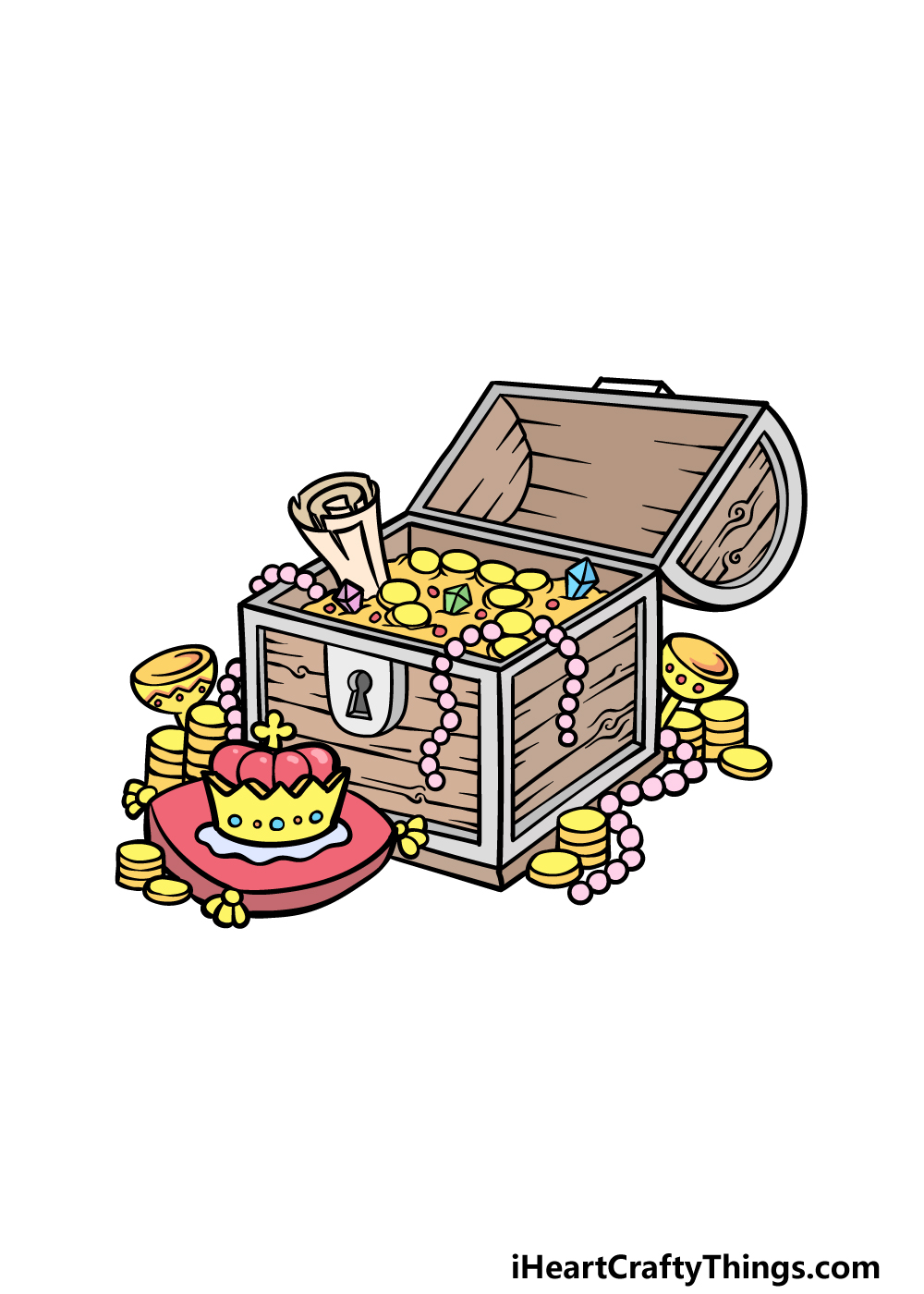 drawing a treasure chest step 6