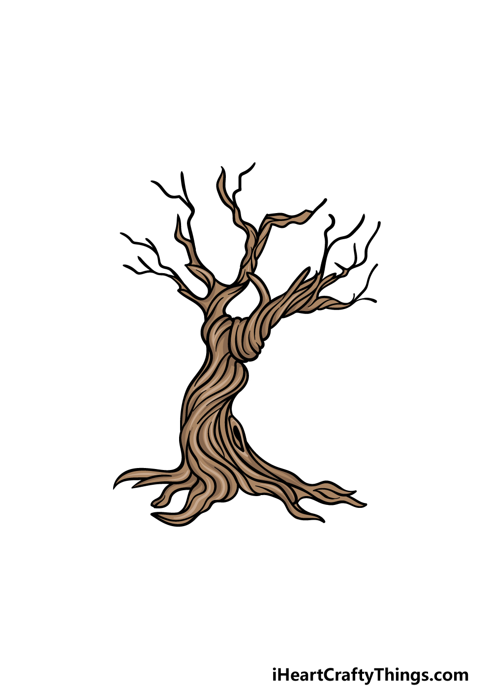 how to draw a dead tree step 6