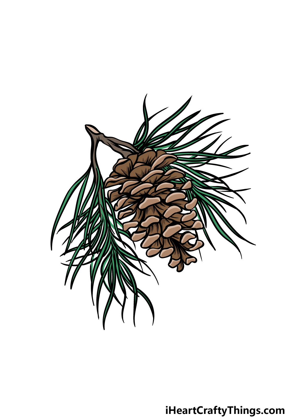 drawing pine cone step 6