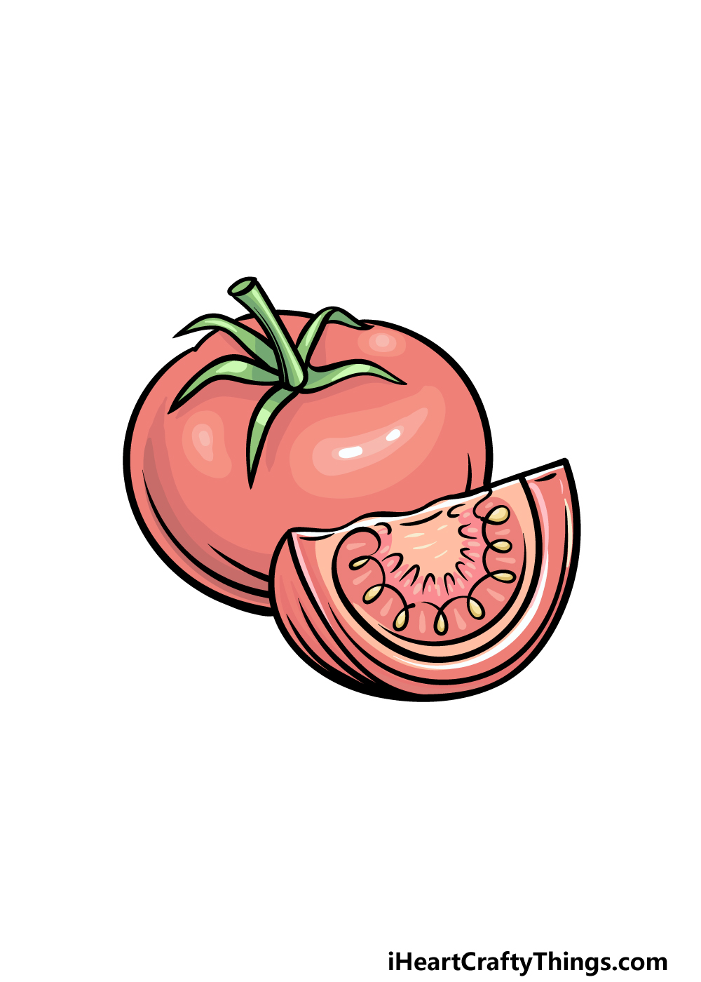 drawing a tomato step 6