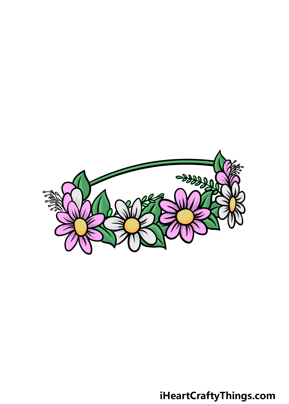 drawing a flower crown step 6