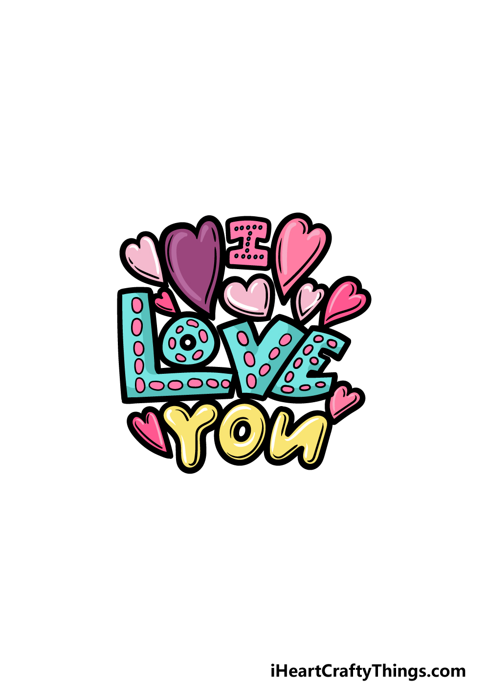 drawing I Love You step 6