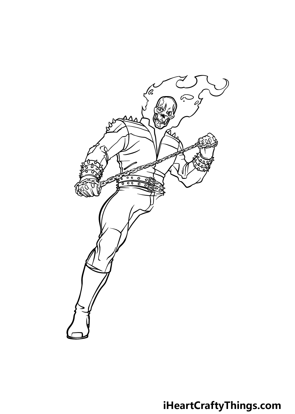 drawing Ghost Rider step 6