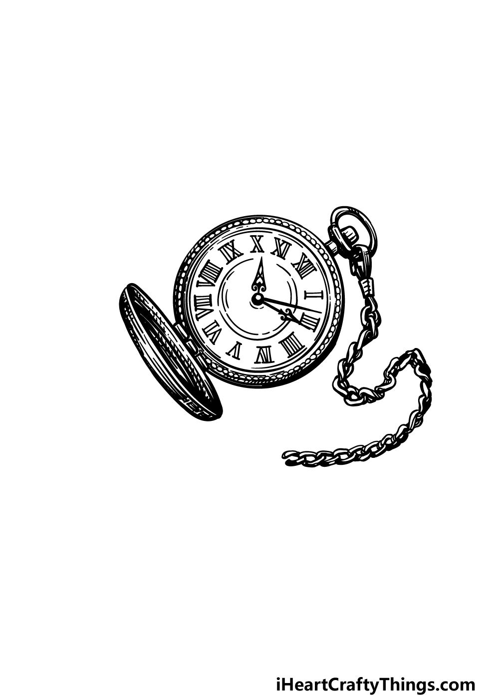 drawing a pocket watch step 6