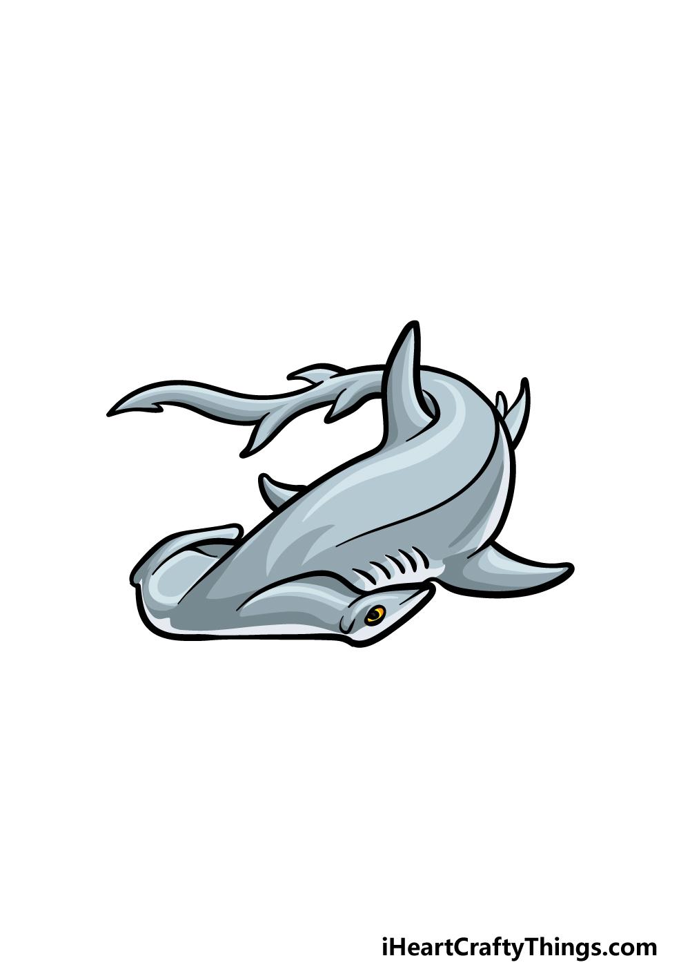 drawing hummerhead shark step 6