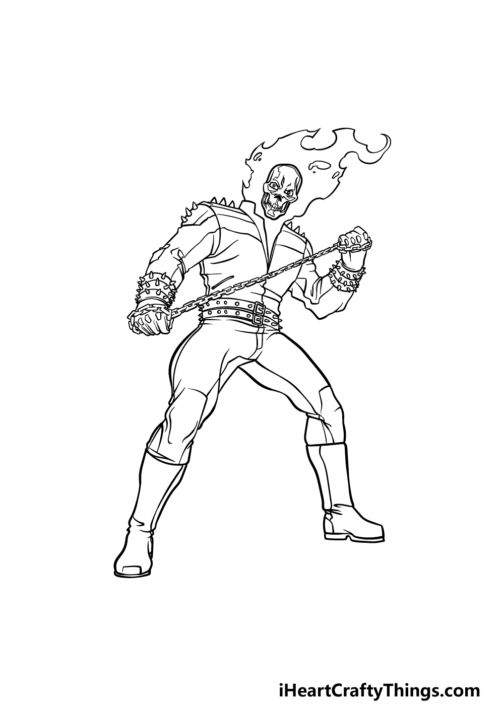 drawing Ghost Rider step 7