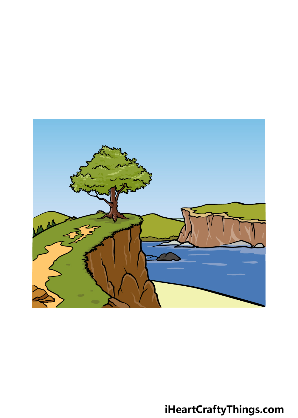 drawing a cliff step 8