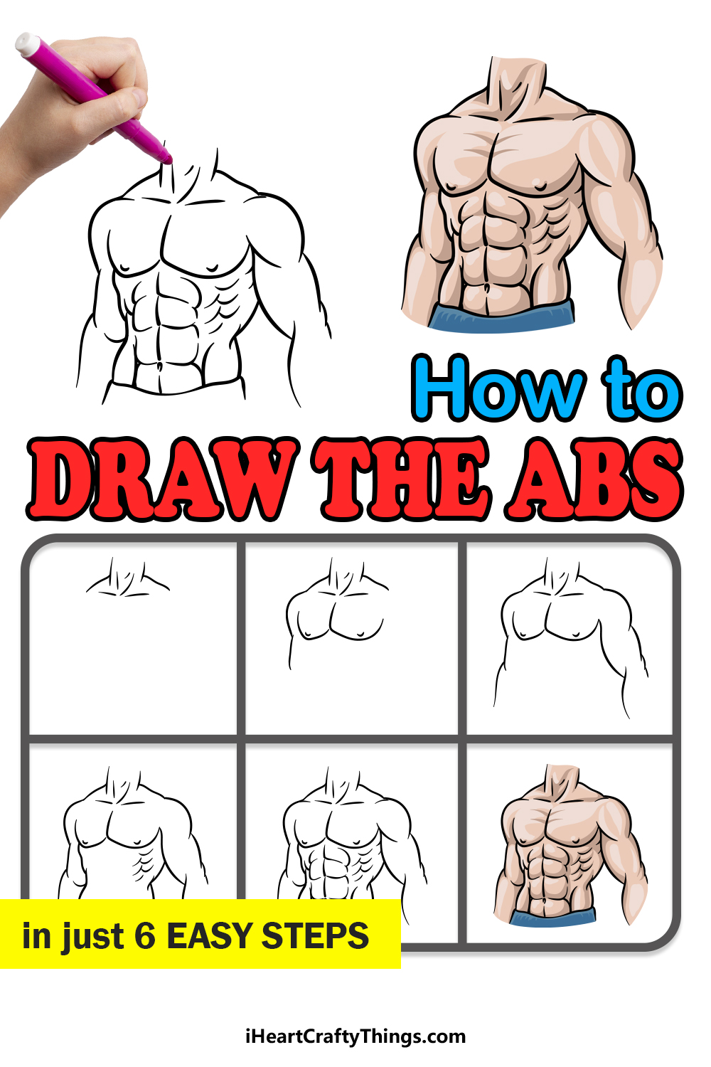 how to draw the abs in 6 easy steps