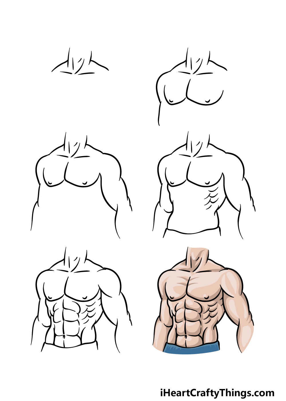how to draw the abs in 6 steps