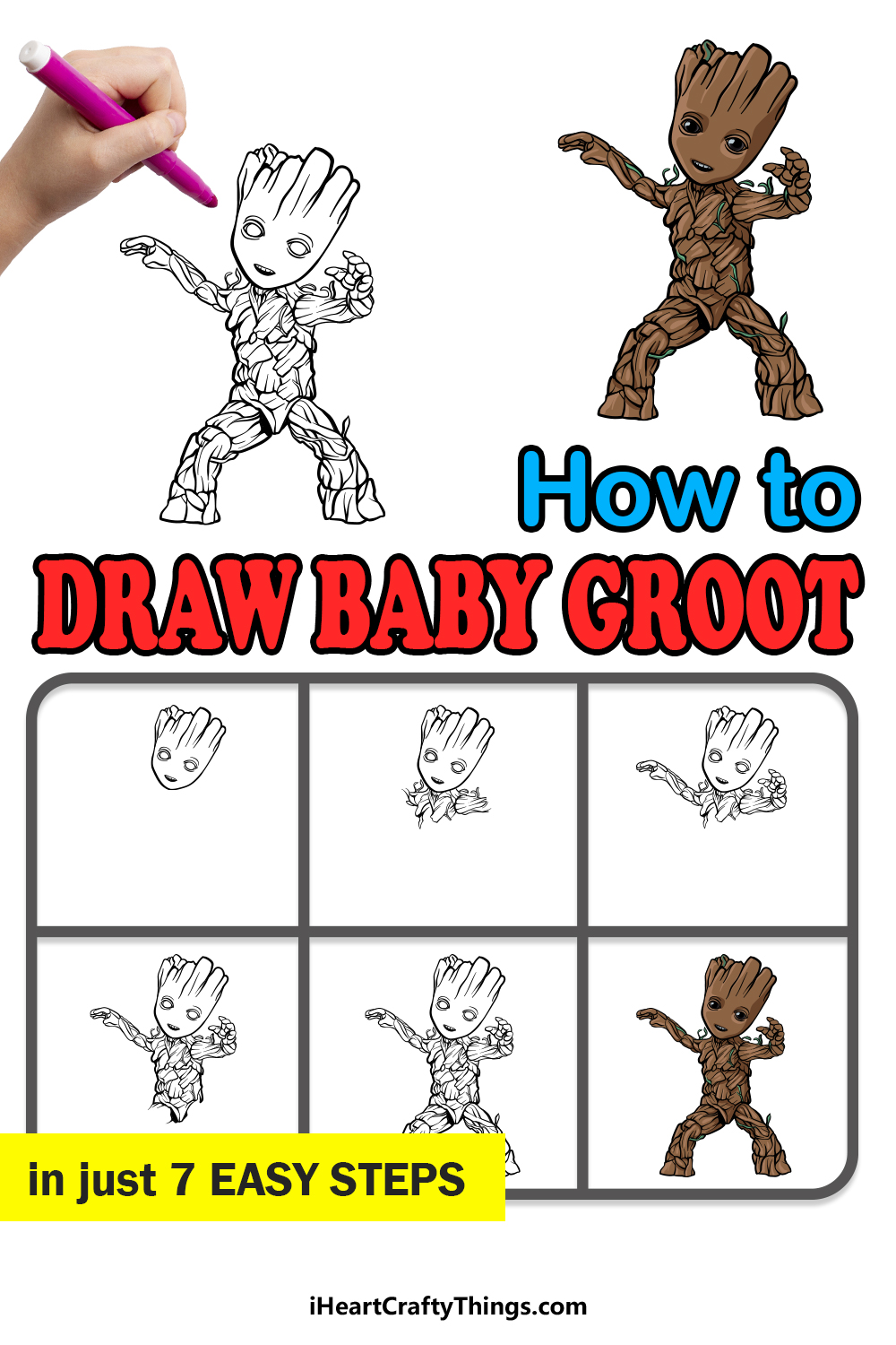 how to draw baby groot in 7 easy steps
