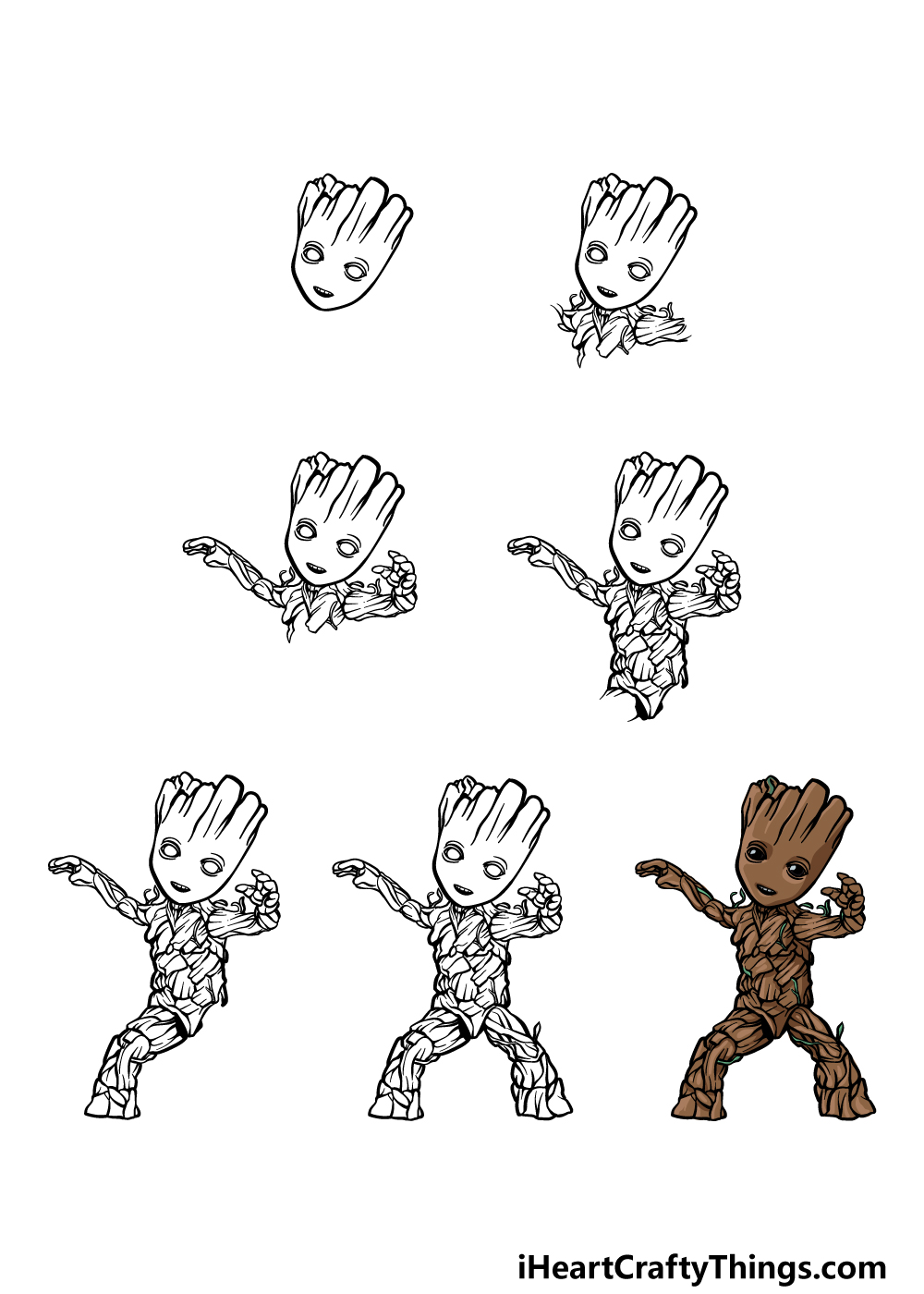 how to draw Baby Groot in 7 steps