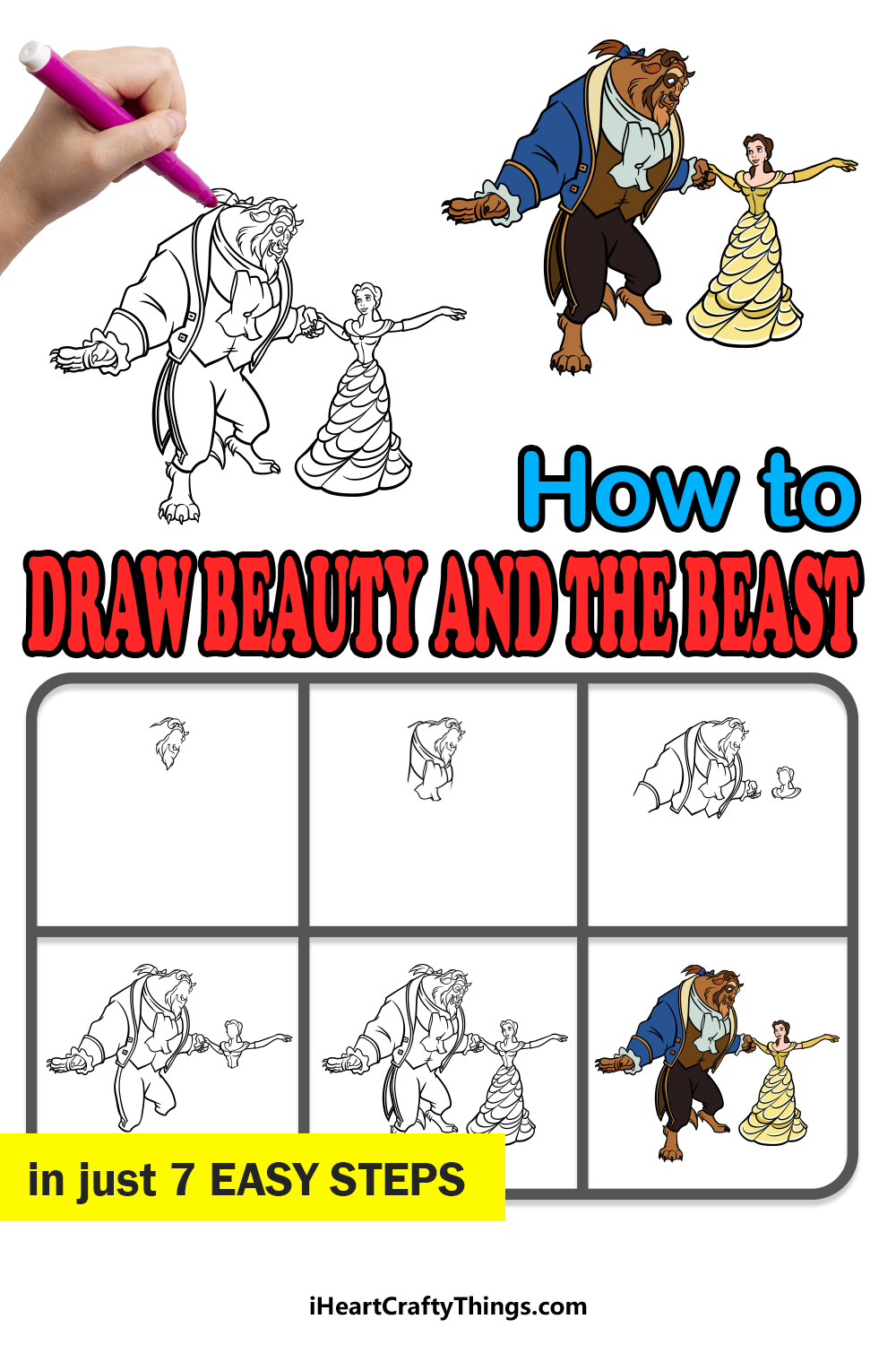 how to draw Beauty and the Beast in 7 easy steps