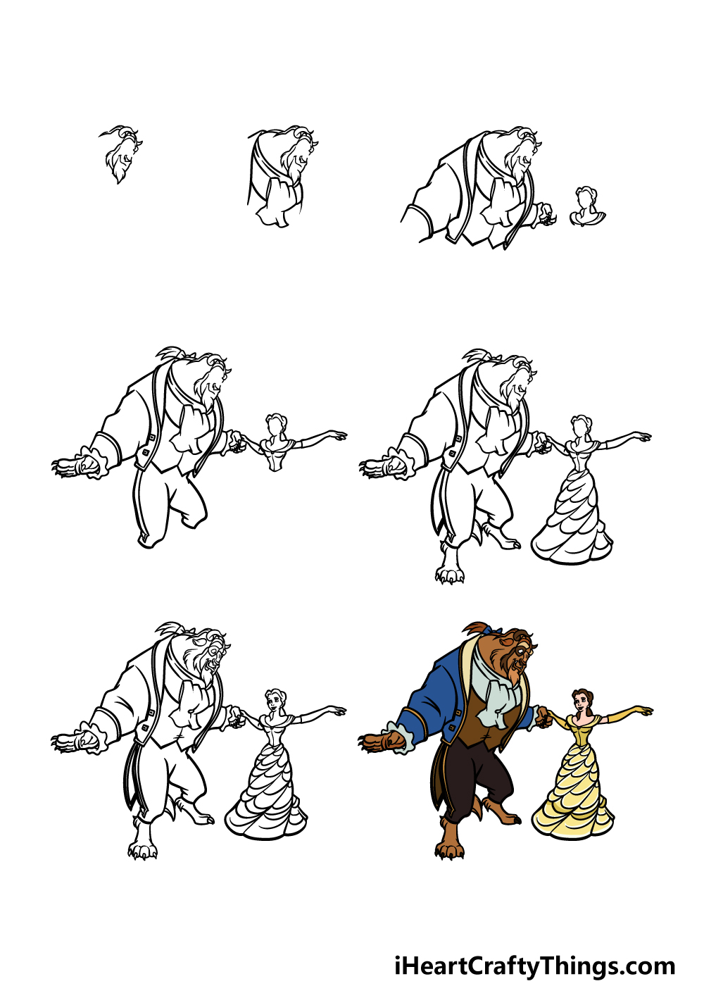 how to draw beauty and the beast in 7 steps