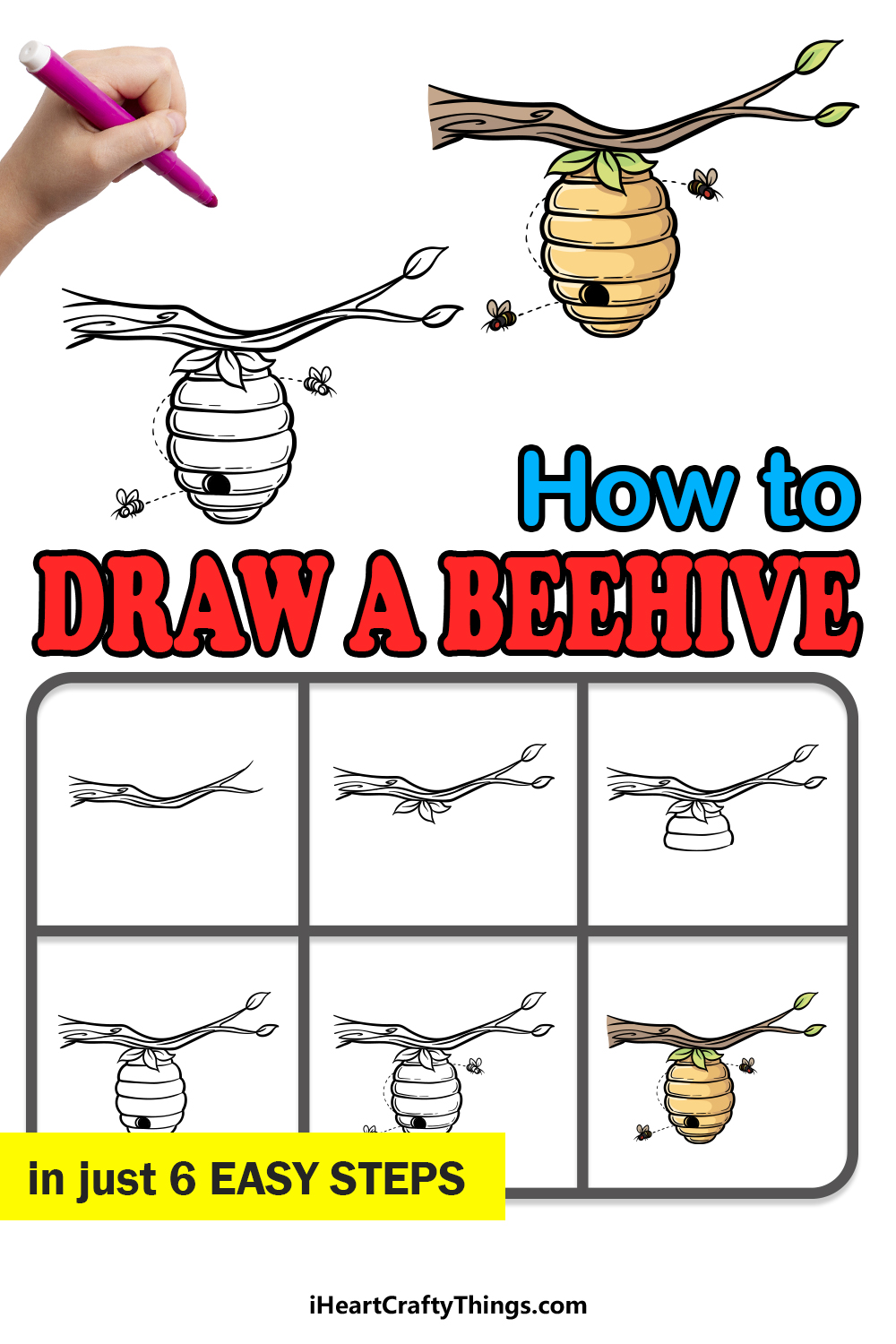 how to draw beehive in 6 easy steps